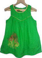 KiddoPanti Girls Mini/Short Casual Dress(Green, Sleeveless)