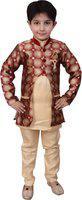 Arshia Fashions Boys Festive & Party Kurta, Waistcoat and Breeches Set(Red Pack of 1)