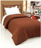 SPEED DECOR Plain Single Coral Blanket(Polyester, Coffee)