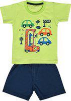 Kiwi Boys Green & Orange Printed T-shirt with Shorts
