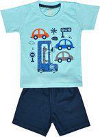 Kiwi Boys Blue & Multicoloured Printed T-shirt with Shorts