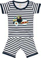 Kiwi Boys Blue & White Striped T-shirt with Shorts