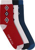 JUMP USA Men Pack of 3 Calf length Socks|Red|White|Navy Blue Bamboo Sweat Proof| Padded Socks