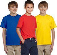 Cliths Boys Solid Cotton Blend T Shirt(Multicolor, Pack of 3)