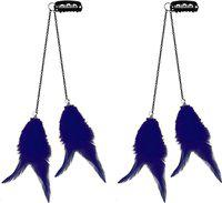 Confidence 2 Pcs Colorful Feather Hair Extension Clips Perfect For Kid Girls And Also For Adults 15 Gram Pack Of 1 (Navy Blue)