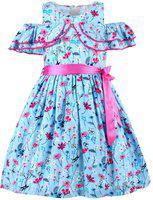 Stylo Bug Indi Girls Midi/Knee Length Party Dress(Blue, Sleeveless)