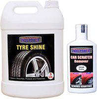 indopower TYRE SHINER 5ltr+ Scratch Remover 200gm. Car Washing Liquid(5200 ml)