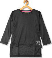 Cherokee Girls Casual Polycotton Top(Black, Pack of 1)
