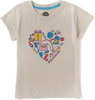 Cub McPaws Girls Printed Cotton Jersey T Shirt(Grey, Pack of 1)