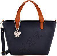 Butterflies Women Hand Bag With Wallet Combo (Navy Blue,Tan) (BNS WB0736) (Set of 2)