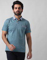 True Blue Self Design Men Polo Neck Blue T-Shirt