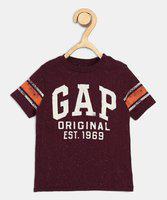 GAP Boys Printed Cotton Blend T Shirt(Purple, Pack of 1)