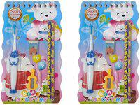 Wizme 2 Pcs Cartoon Design Tooth Brush with Pencil Sharpener and Rubber Stationery Items for Kids (20 Grams) Pack of 1