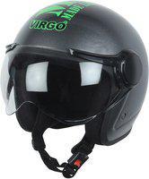 Virgo BLT Open Face Motorbike Helmet(S-BlackGlossyClear)