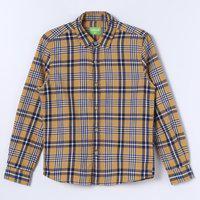 BOSSINI Boys Checkered Casual Yellow Shirt
