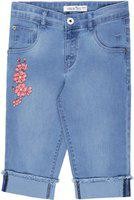 Palm Tree Capri For Girls Casual Floral Print Denim(Light Blue Pack of 1)