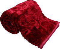 Shopping Store Plain Single Mink Blanket(Polyester, Red)