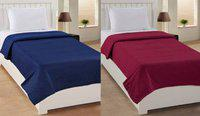 SPEED DECOR Plain Single Coral Blanket(Polyester, Blue, Maroon)