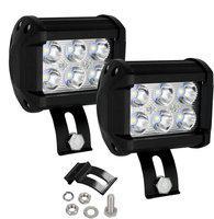 Andride 4 Inch Osram 18W 6 LED Fog Light Bar Waterproof IP67 12-24V High Beam Work Light for Motorcycle Car 4WD Truck SUV Jeep Flood Spot 6X3W LED Offroad Fog Driving Light (Pack of 2) Car Fancy Lights(Black)