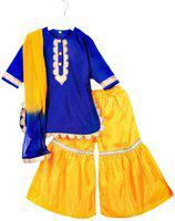 BownBee Girls Festive & Party Kurta, Pyjama & Dupatta Set(Blue Pack of 1)