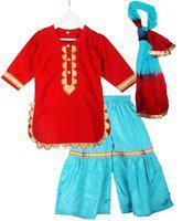 BownBee Girls Festive & Party Kurta, Pyjama & Dupatta Set(Red Pack of 1)