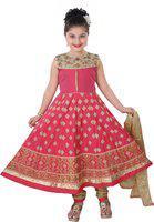 Saarah Girls Festive & Party Kurta, Churidar & Dupatta Set(Pink Pack of 1)
