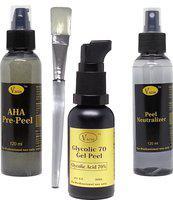 VACOS Glycolic 70 gel Peel Glycolic Acid 70% 30 ml with Pre Peel Neutralizer Brush Chemical Peel Skin Peeling 30 ml(Set of 4)