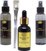 VACOS Glycolic 50 Peel Glycolic Acid 50% 30 ml with Pre Peel Neutralizer Brush Chemical Peel Skin Peeling 30 ml(Set of 4)