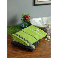 Set of 2 Emilia Cotton Bath Towels in Charcoal Lime Colour Living Essence