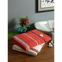 Set of 2 Emilia Cotton Bath Towels in Rust Off White Colour Living Essence