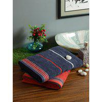 Set of 2 Emilia Cotton Bath Towels in Navy Rust Colour Living Essence