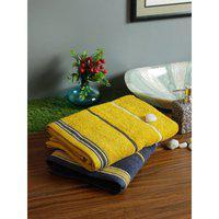 Set of 2 Emilia Cotton Bath Towels in Navy Gold Colour Living Essence