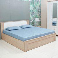 Jacquard Box Cotton Double Bedsheets in Mid Blue Colour Living Essence