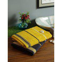 Set of 2 Emilia Cotton Bath Towels in Charcoal Gold Colour Living Essence