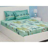 Nora Cotton Double Bedsheets in Teal Colour Living Essence