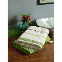 Set of 2 Emilia Cotton Bath Towels in Offwhite Lime Colour Living Essence