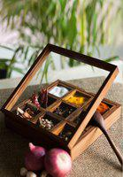 Brown Wooden Spice Box With Spoon
