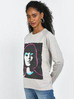 Blue Saint Graphic Face Placement Print Sweatshirt