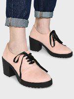 Koovs Block Heeled Suede Derby Shoes