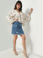 Oxolloxo Floral Print Pleated Top