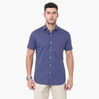 CODE Textured Short Sleeves Shirt