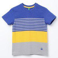 KIDSVILLE Striped Colourblock Crew-Neck T-shirt
