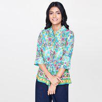 Global Desi Formal 3/4 Sleeve Floral Print Women Blue Top