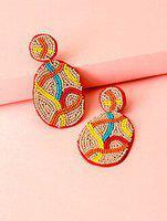 pink handmade drop earring