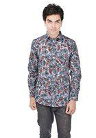 25th R 100% Cotton Slim Fit Grey-Red Printed Casual Partywear Shirts for Men