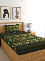 Home Ecstasy Green Geometric 140 TC Cotton 1 Single Bedsheet with 1 Pillow Covers