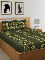 Home Ecstasy Green & Yellow Geometric 140 TC Cotton 1 Queen Bedsheet with 2 Pillow Covers