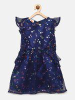 UFO Girls Printed Navy Blue Fit and Flare Dress