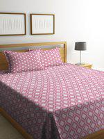 NEUDIS Pink & White Printed Double Bed Cover with 2 Pillow Covers