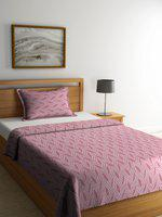 NEUDIS Red & White Printed Jacquard Premium Cotton Single Bed Cover with 2 Pillow Covers
